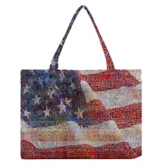 Grunge United State Of Art Flag Medium Zipper Tote Bag