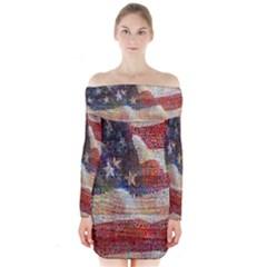 Grunge United State Of Art Flag Long Sleeve Off Shoulder Dress