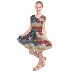 Grunge United State Of Art Flag Kids  Short Sleeve Dress