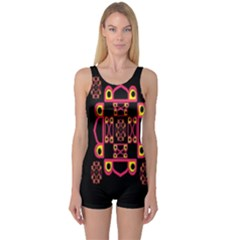 LETTER R One Piece Boyleg Swimsuit