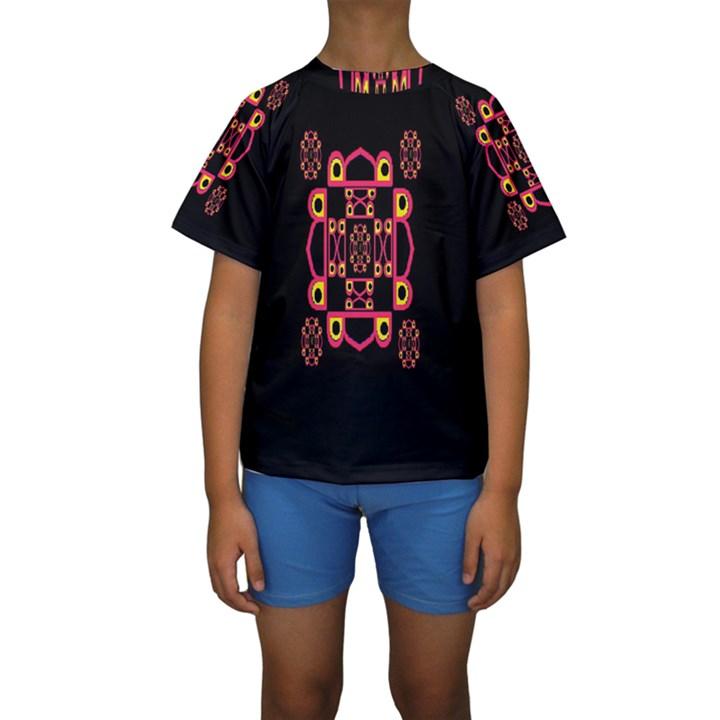 LETTER R Kids  Short Sleeve Swimwear