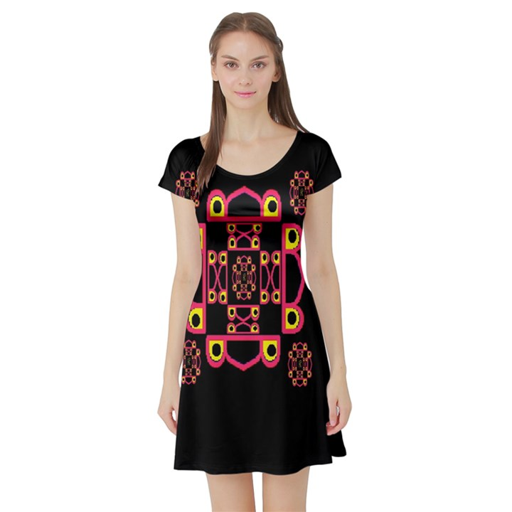 LETTER R Short Sleeve Skater Dress