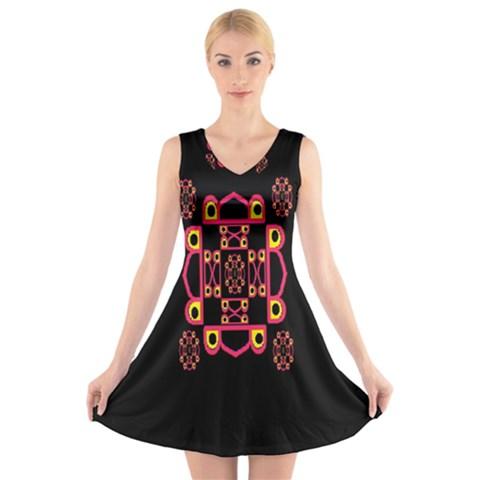 LETTER R V-Neck Sleeveless Skater Dress
