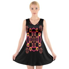 Letter R V Neck Sleeveless Skater Dress