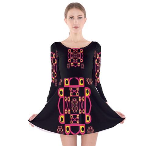 LETTER R Long Sleeve Velvet Skater Dress