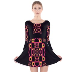 LETTER R Long Sleeve Velvet Skater Dress