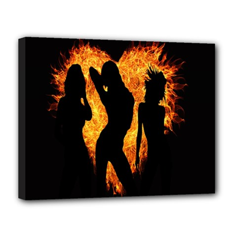 Heart Love Flame Girl Sexy Pose Canvas 14  x 11