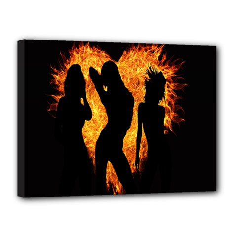Heart Love Flame Girl Sexy Pose Canvas 16  x 12