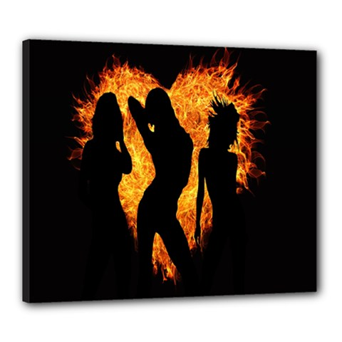 Heart Love Flame Girl Sexy Pose Canvas 24  x 20