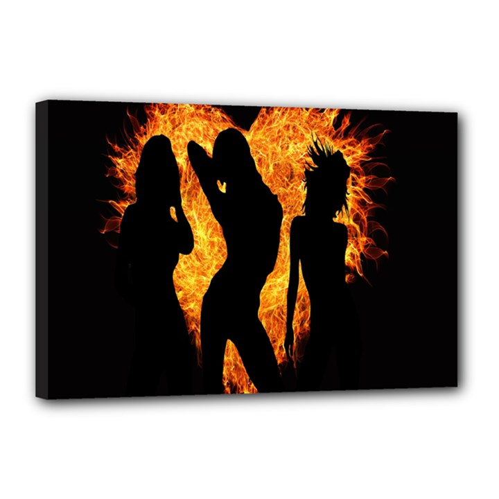 Heart Love Flame Girl Sexy Pose Canvas 18  x 12