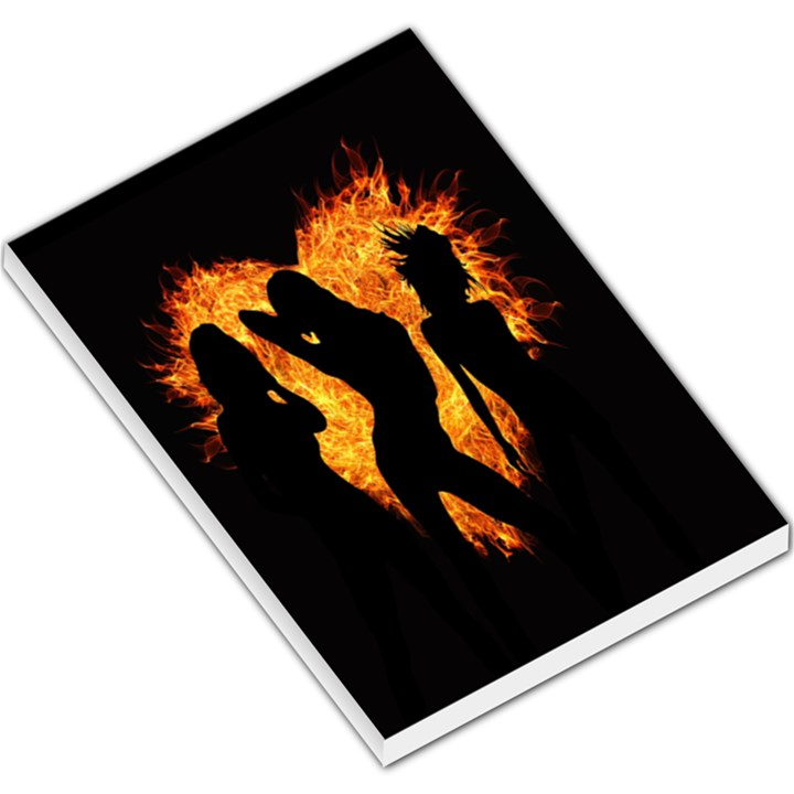 Heart Love Flame Girl Sexy Pose Large Memo Pads