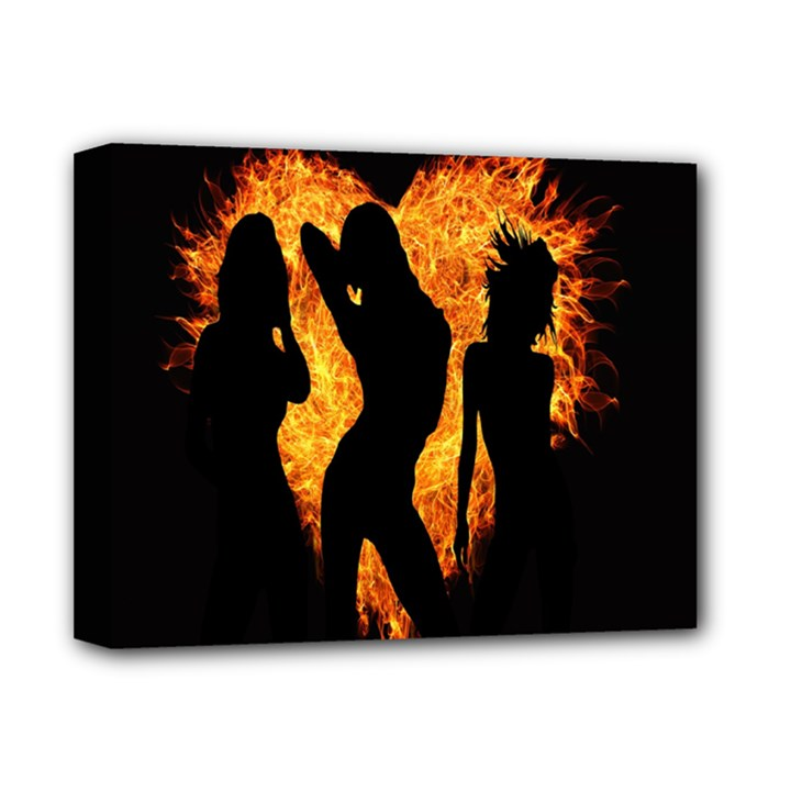 Heart Love Flame Girl Sexy Pose Deluxe Canvas 14  x 11