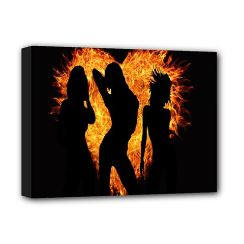 Heart Love Flame Girl Sexy Pose Deluxe Canvas 16  x 12