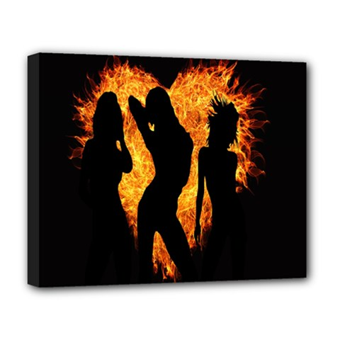 Heart Love Flame Girl Sexy Pose Deluxe Canvas 20  x 16