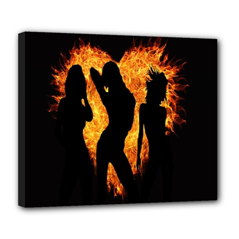 Heart Love Flame Girl Sexy Pose Deluxe Canvas 24  x 20