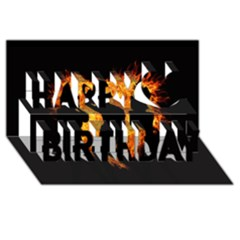 Heart Love Flame Girl Sexy Pose Happy Birthday 3D Greeting Card (8x4)