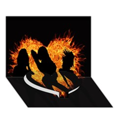 Heart Love Flame Girl Sexy Pose Heart Bottom 3D Greeting Card (7x5)