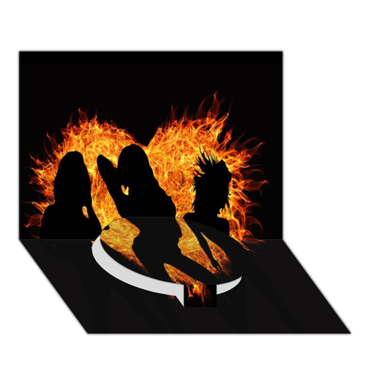 Heart Love Flame Girl Sexy Pose Circle Bottom 3D Greeting Card (7x5)