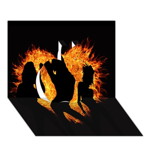 Heart Love Flame Girl Sexy Pose Apple 3D Greeting Card (7x5)