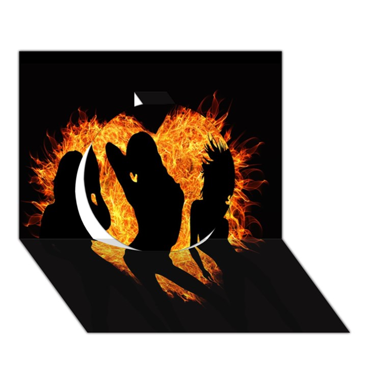 Heart Love Flame Girl Sexy Pose Circle 3D Greeting Card (7x5)
