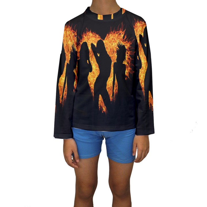 Heart Love Flame Girl Sexy Pose Kids  Long Sleeve Swimwear