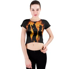 Heart Love Flame Girl Sexy Pose Crew Neck Crop Top