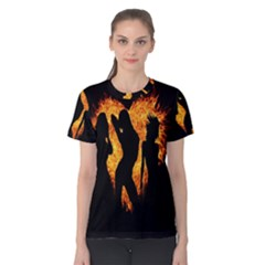 Heart Love Flame Girl Sexy Pose Women s Cotton Tee