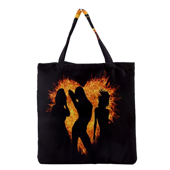 Heart Love Flame Girl Sexy Pose Grocery Tote Bag