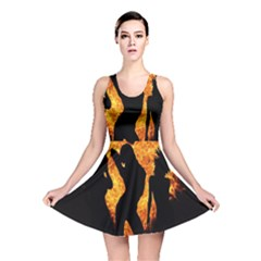 Heart Love Flame Girl Sexy Pose Reversible Skater Dress