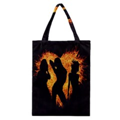 Heart Love Flame Girl Sexy Pose Classic Tote Bag