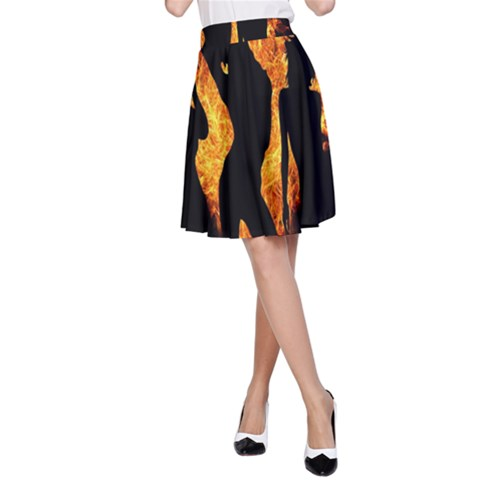 Heart Love Flame Girl Sexy Pose A-Line Skirt