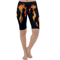 Heart Love Flame Girl Sexy Pose Cropped Leggings