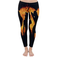 Heart Love Flame Girl Sexy Pose Winter Leggings