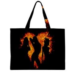 Heart Love Flame Girl Sexy Pose Zipper Mini Tote Bag