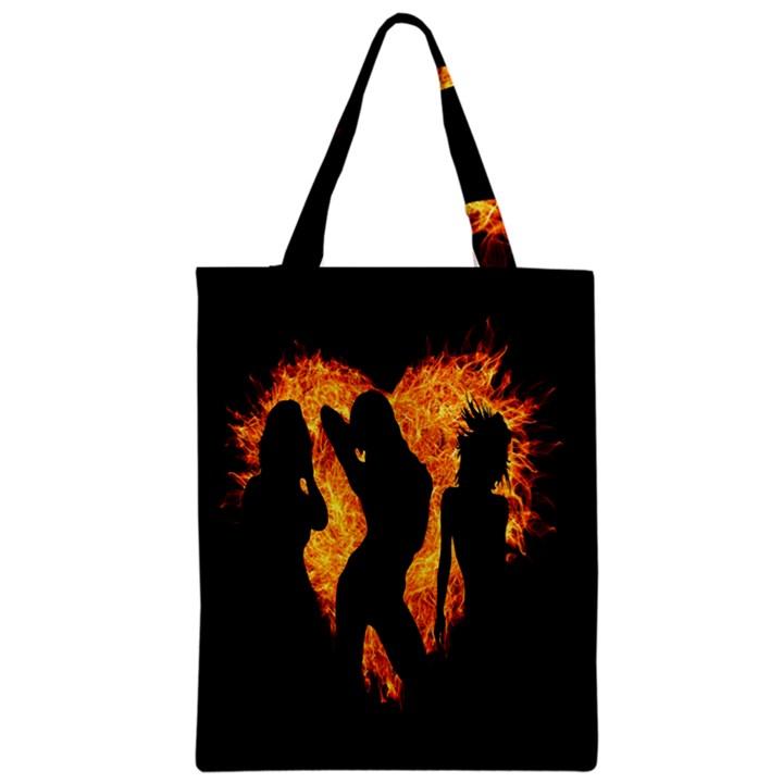 Heart Love Flame Girl Sexy Pose Zipper Classic Tote Bag