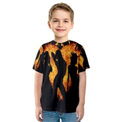 Heart Love Flame Girl Sexy Pose Kids  Sport Mesh Tee
