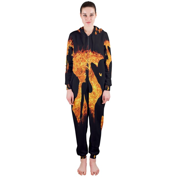 Heart Love Flame Girl Sexy Pose Hooded Jumpsuit (Ladies)
