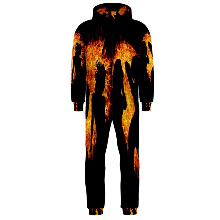 Heart Love Flame Girl Sexy Pose Hooded Jumpsuit (Men)