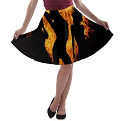 Heart Love Flame Girl Sexy Pose A-line Skater Skirt