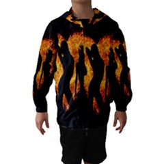 Heart Love Flame Girl Sexy Pose Hooded Wind Breaker (Kids)