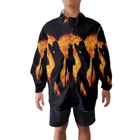 Heart Love Flame Girl Sexy Pose Wind Breaker (Kids)