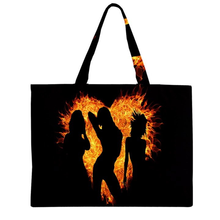 Heart Love Flame Girl Sexy Pose Large Tote Bag