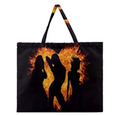 Heart Love Flame Girl Sexy Pose Zipper Large Tote Bag