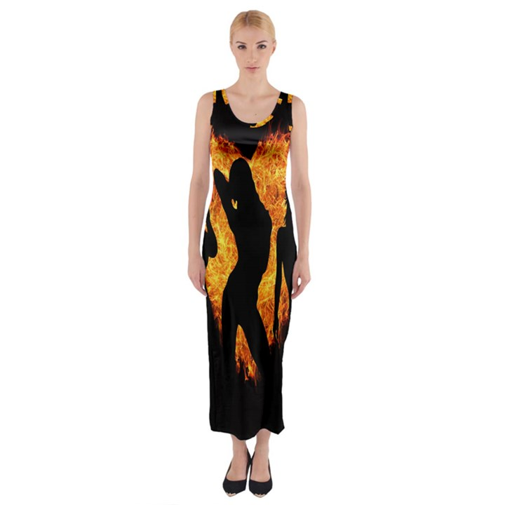 Heart Love Flame Girl Sexy Pose Fitted Maxi Dress