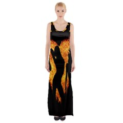 Heart Love Flame Girl Sexy Pose Maxi Thigh Split Dress