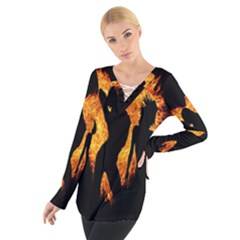 Heart Love Flame Girl Sexy Pose Women s Tie Up Tee