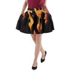 Heart Love Flame Girl Sexy Pose A-Line Pocket Skirt
