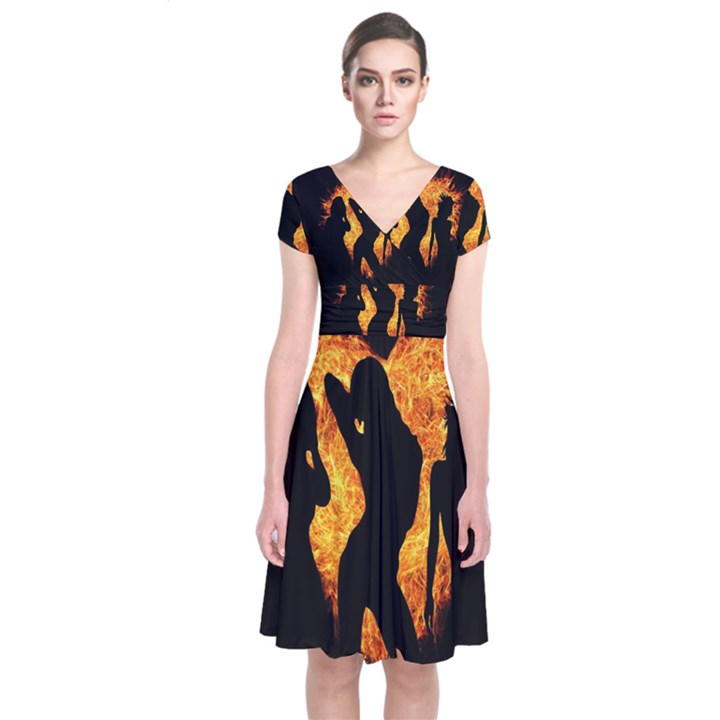 Heart Love Flame Girl Sexy Pose Short Sleeve Front Wrap Dress