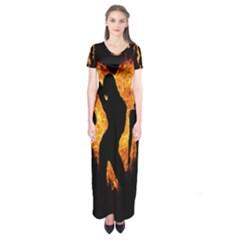 Heart Love Flame Girl Sexy Pose Short Sleeve Maxi Dress