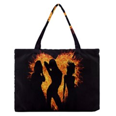 Heart Love Flame Girl Sexy Pose Medium Zipper Tote Bag